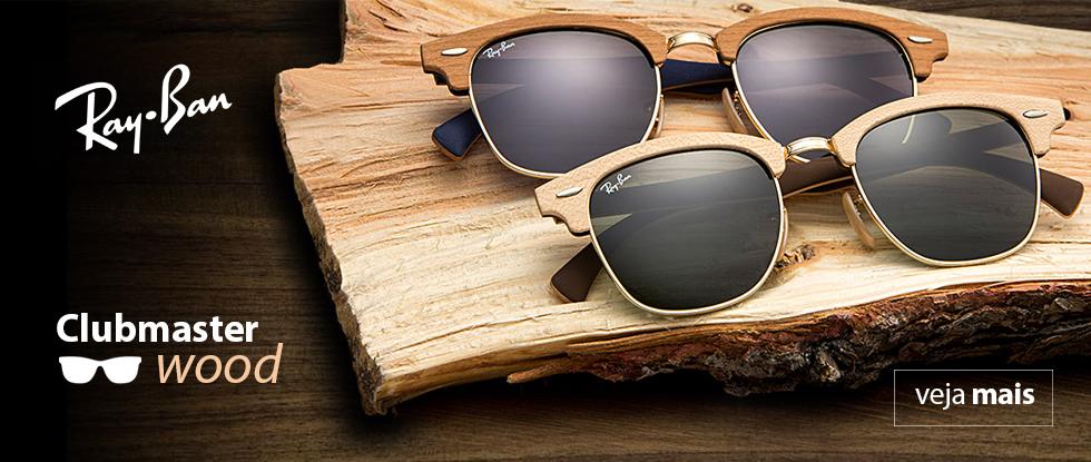 Óculos Ray Ban Clubmaster Wood