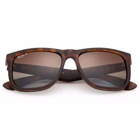 Óculos de Sol Ray Ban Justin RB4165L 865/T5 Tartaruga - Marrom/Degradê 55 3P Polarizado